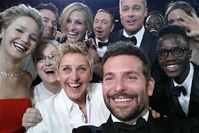 Famous but not the first: Ellen DeGeneres' selfie at the 2014 Academy Awards (Source: @theellenshow/Twitter)