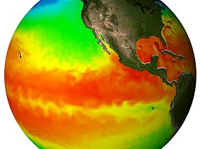 The ocean stores massive amounts of heat, and in El Nino years the Pacific Ocean releases its heat to the atmosphere. (Source: NASA)